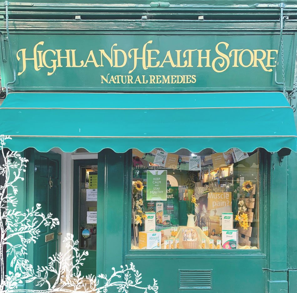 Highland Health Store front door - Herbal local shops in Perth